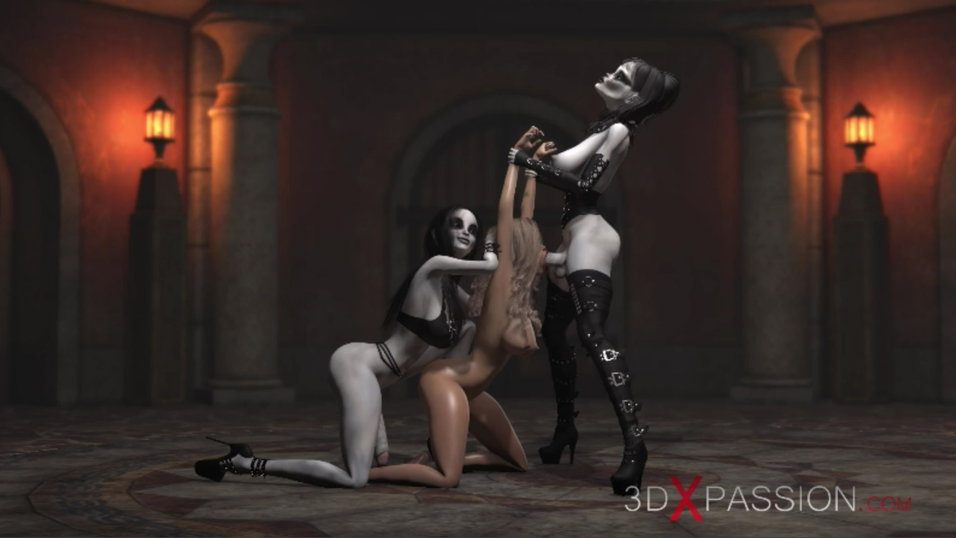 Hot girl slave gets fucked hard by satanic witches in the dark castle double penetration deepthroat