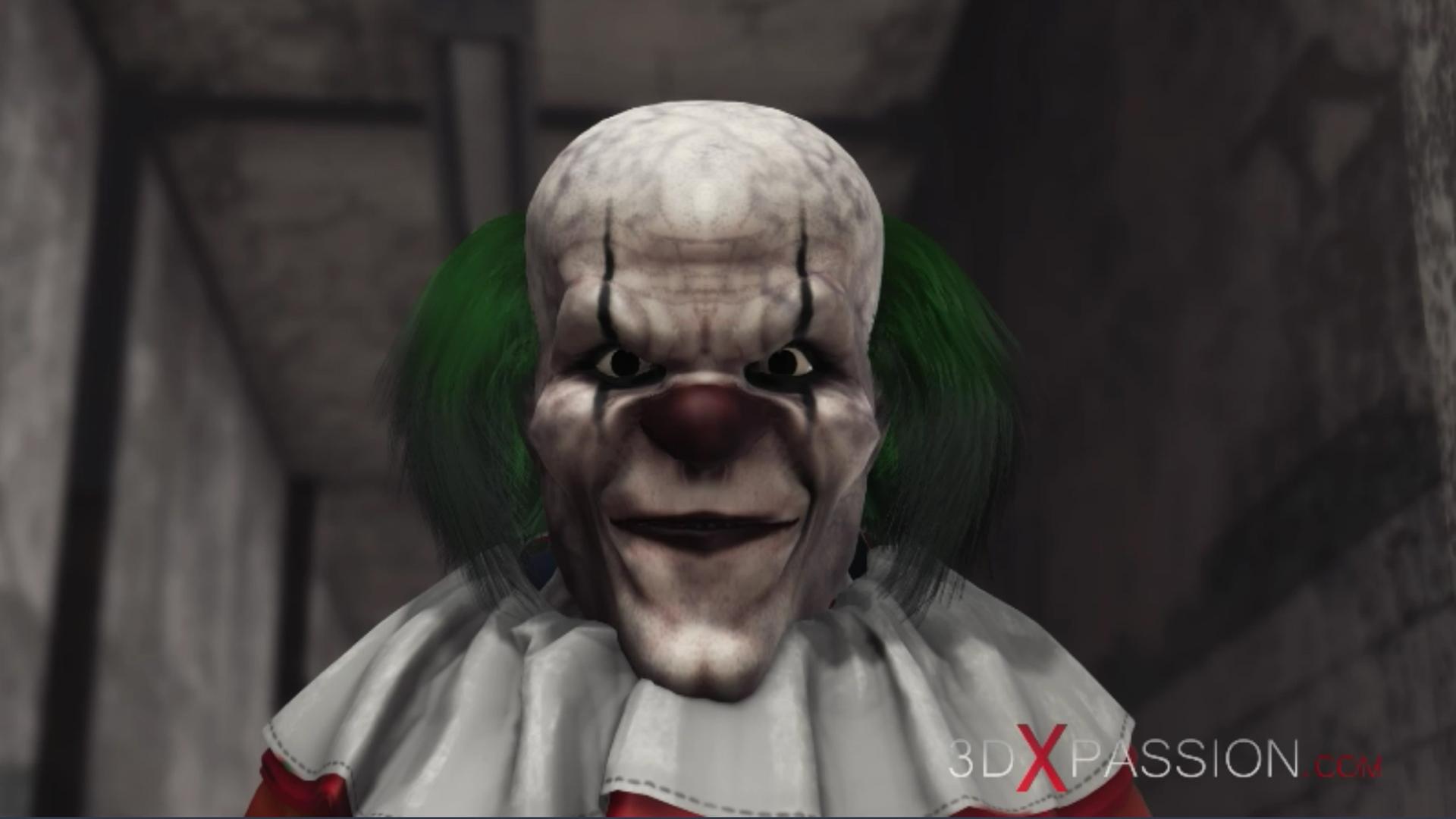 Evil clown fucks a sweet schoolgirl abandoned hospital