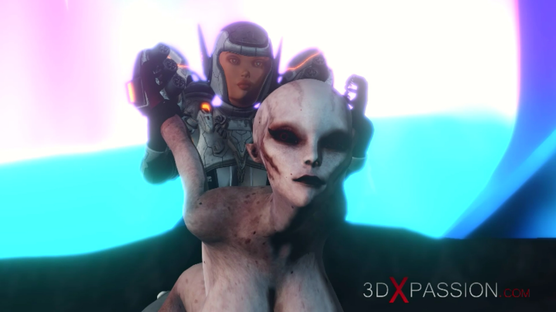 Female alien gets fucked hard by sci-fi explorer in spacesuit on exoplanet