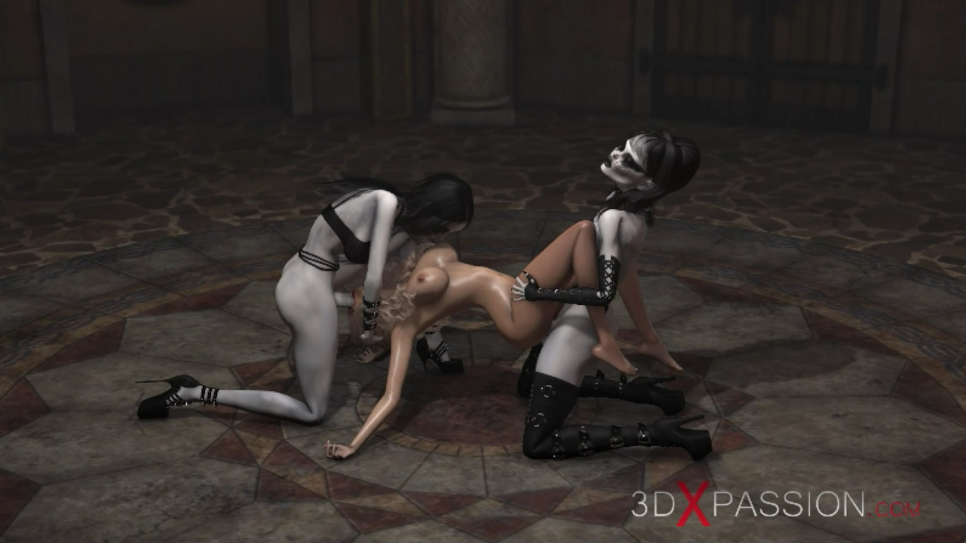 Hot girl slave gets fucked hard by satanic witches in the dark castle double penetration