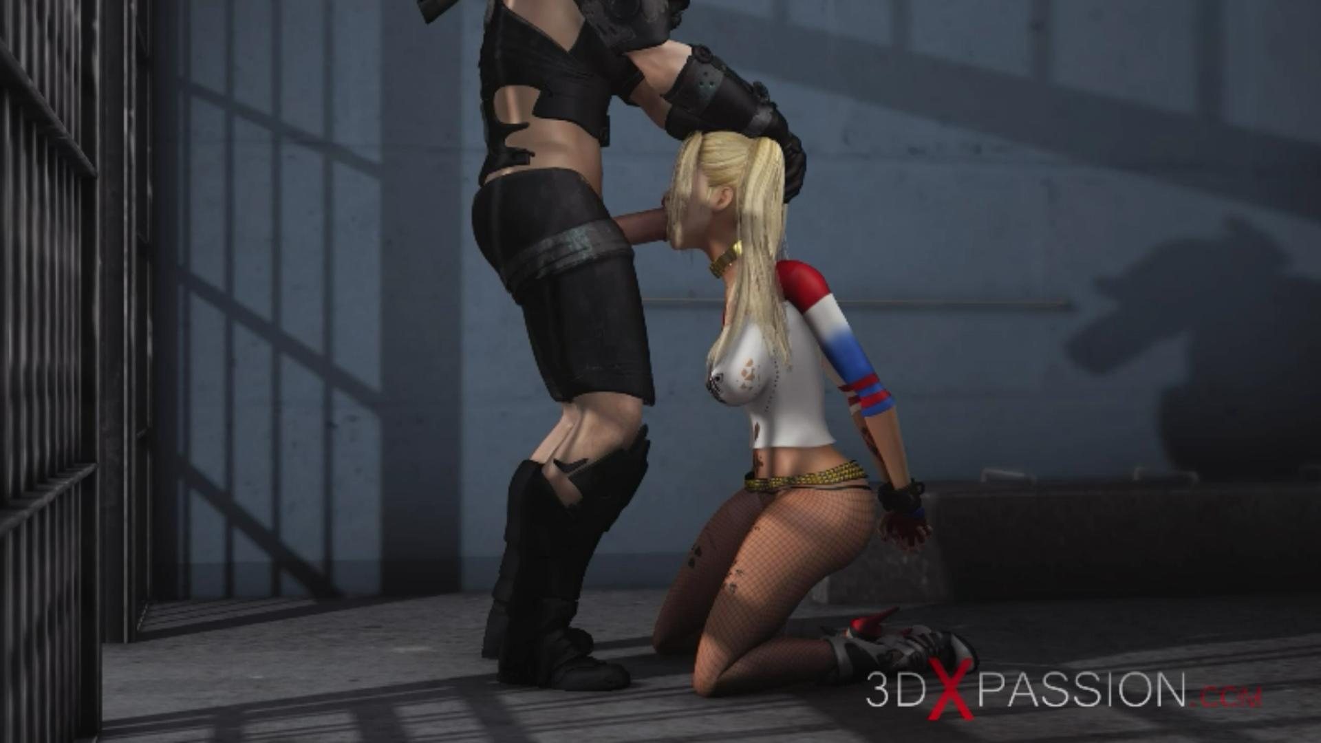 Batman fucks hard Harley Quinn in jail giving extreme blowjob
