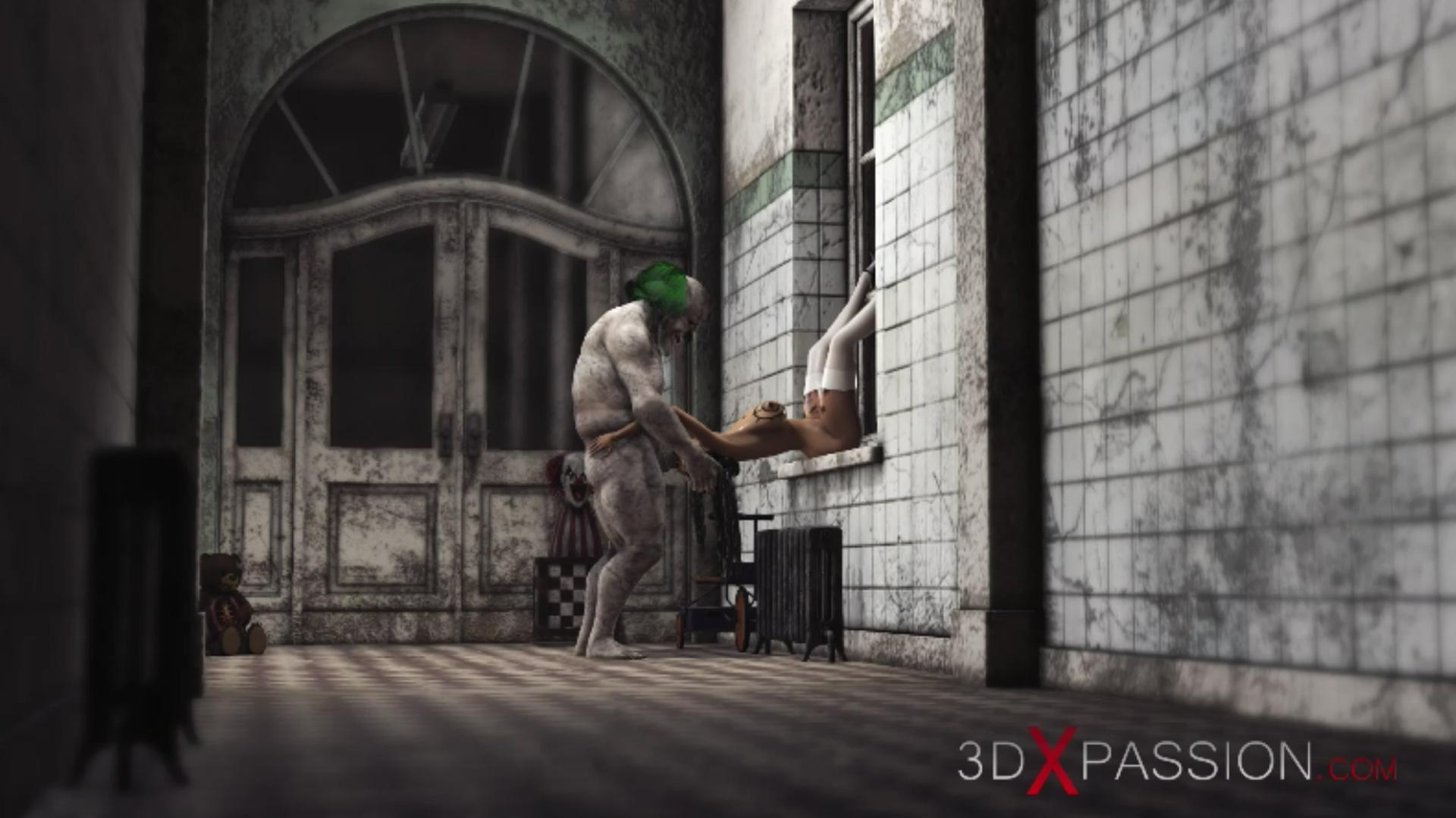 Evil clown extreme irrumatio sweet schoolgirl abandoned hospital