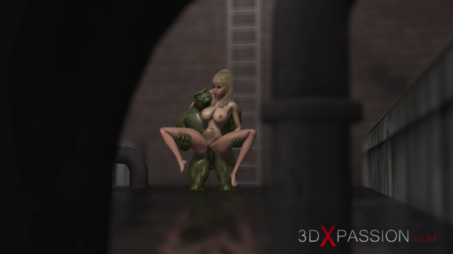 Horny hot girl ass fuck green monster sewer