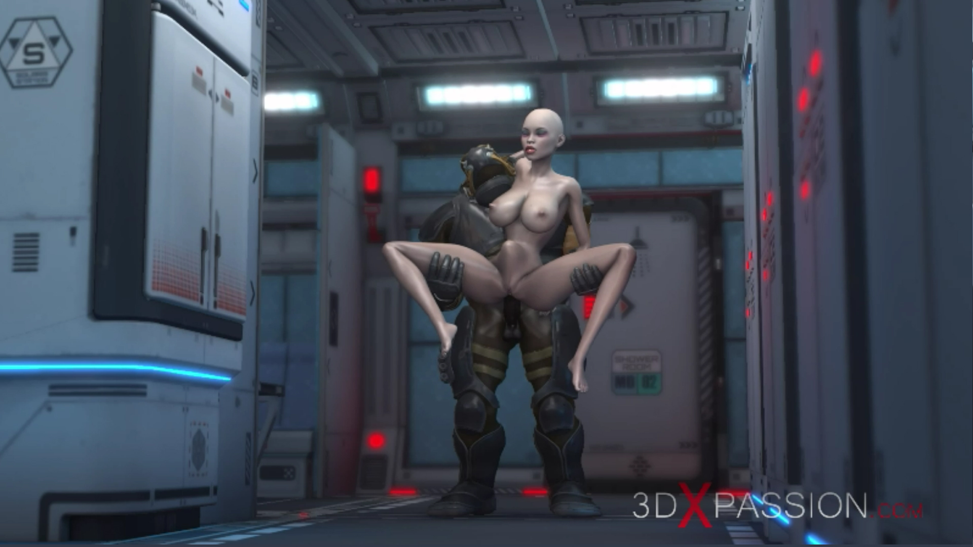 Sci-fi Alien monster standing fuck young girl in the Mars base camp