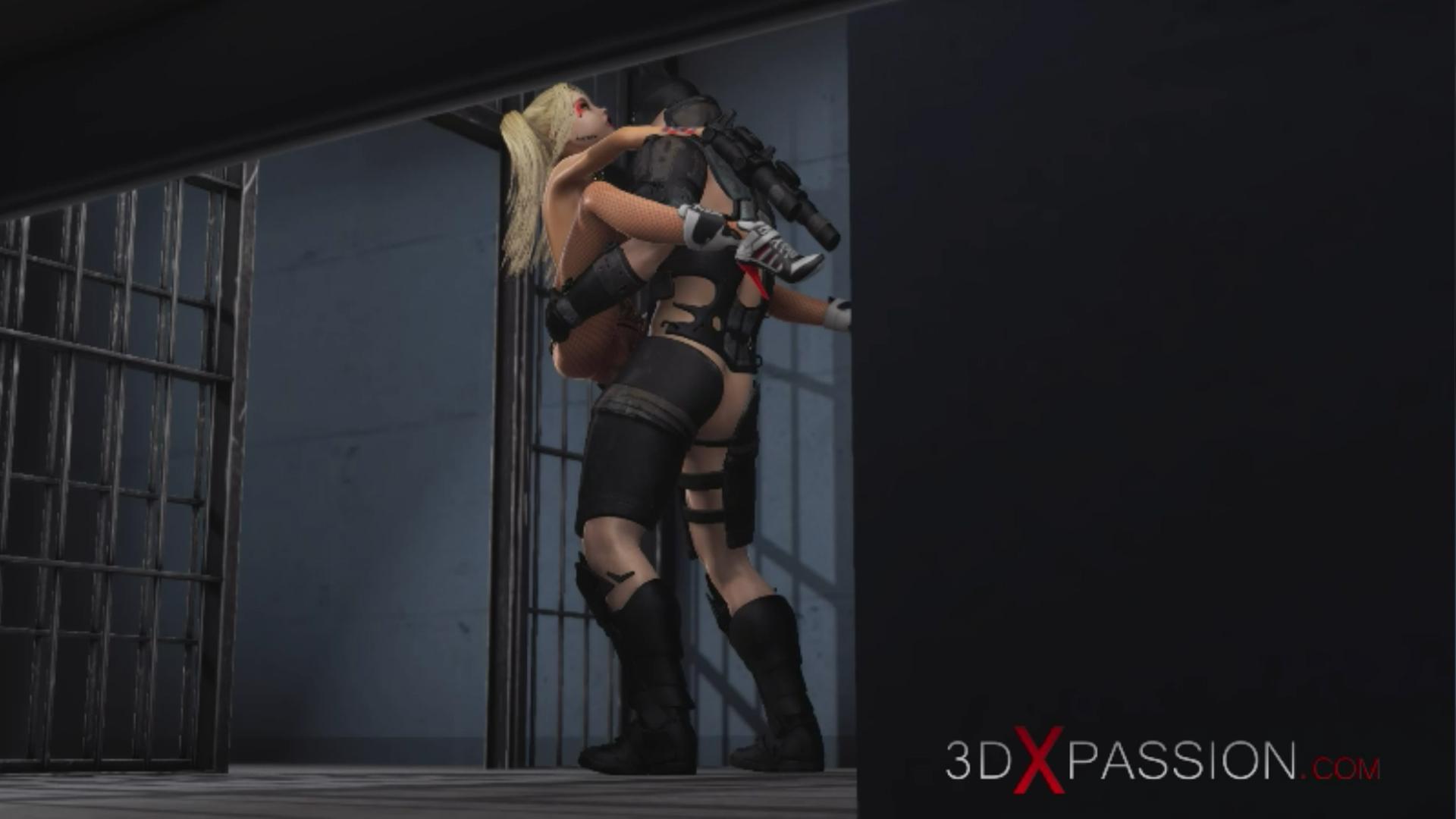 Batman fucks hard Harley Quinn in jail standing fuck