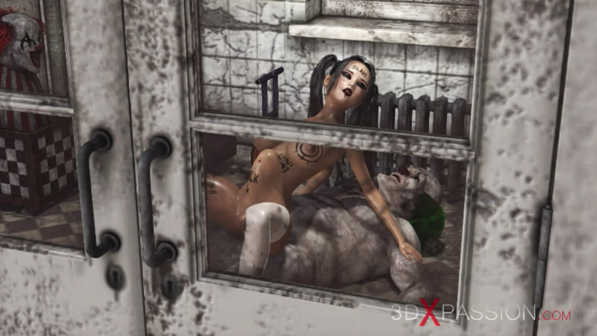 Evil clown reverse cowgirl schoolgirl abandoned hospital
