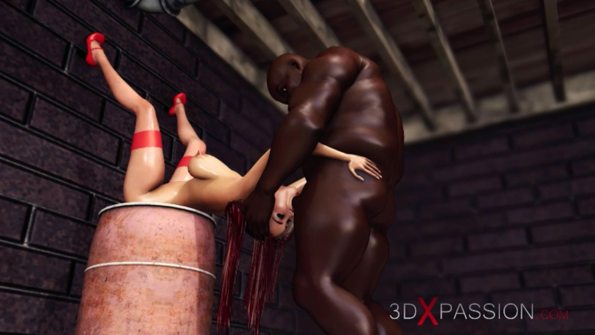 Horny red-haired girl fucked hard extreme irrumatio black man basement
