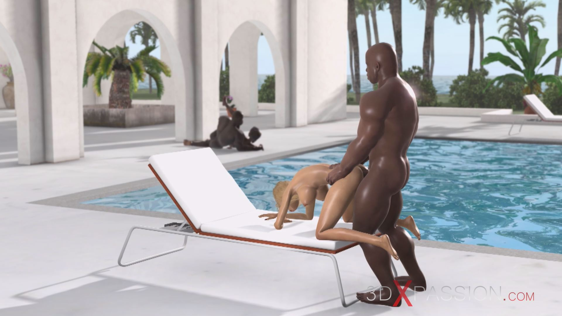 young hot blonde doggystyle black man villa sea swimming pool