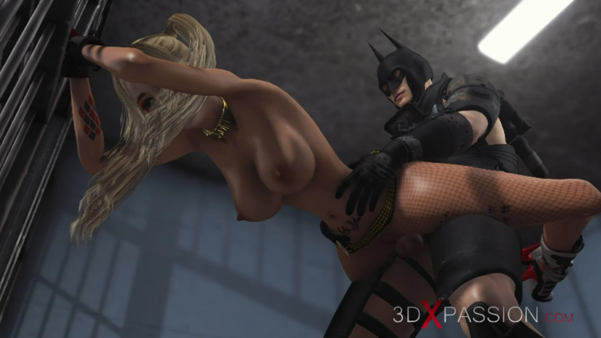Batman fucks hard Harley Quinn in jail standing doggystyle