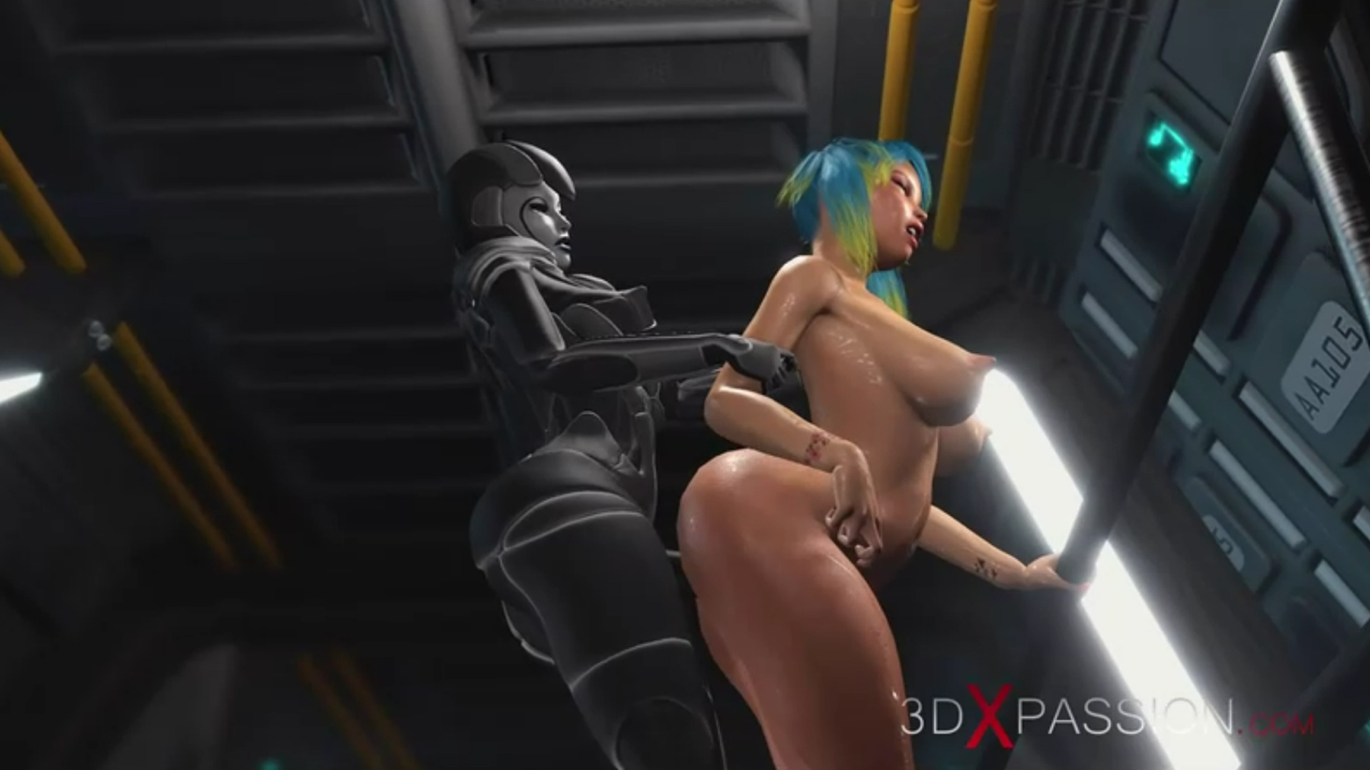 Sci-fi female android fucks horny girl  strapon spaceship