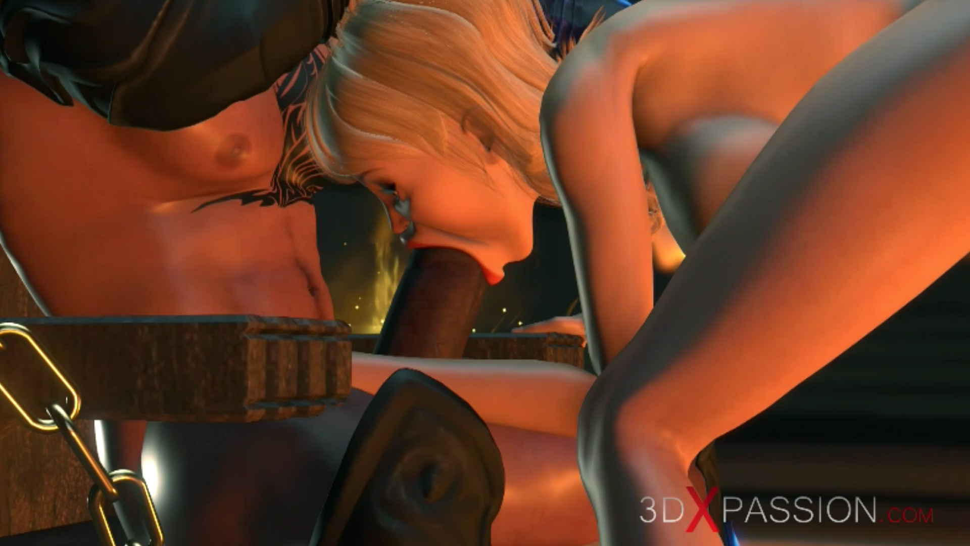 Blonde giving blowjob to fire demon in castle