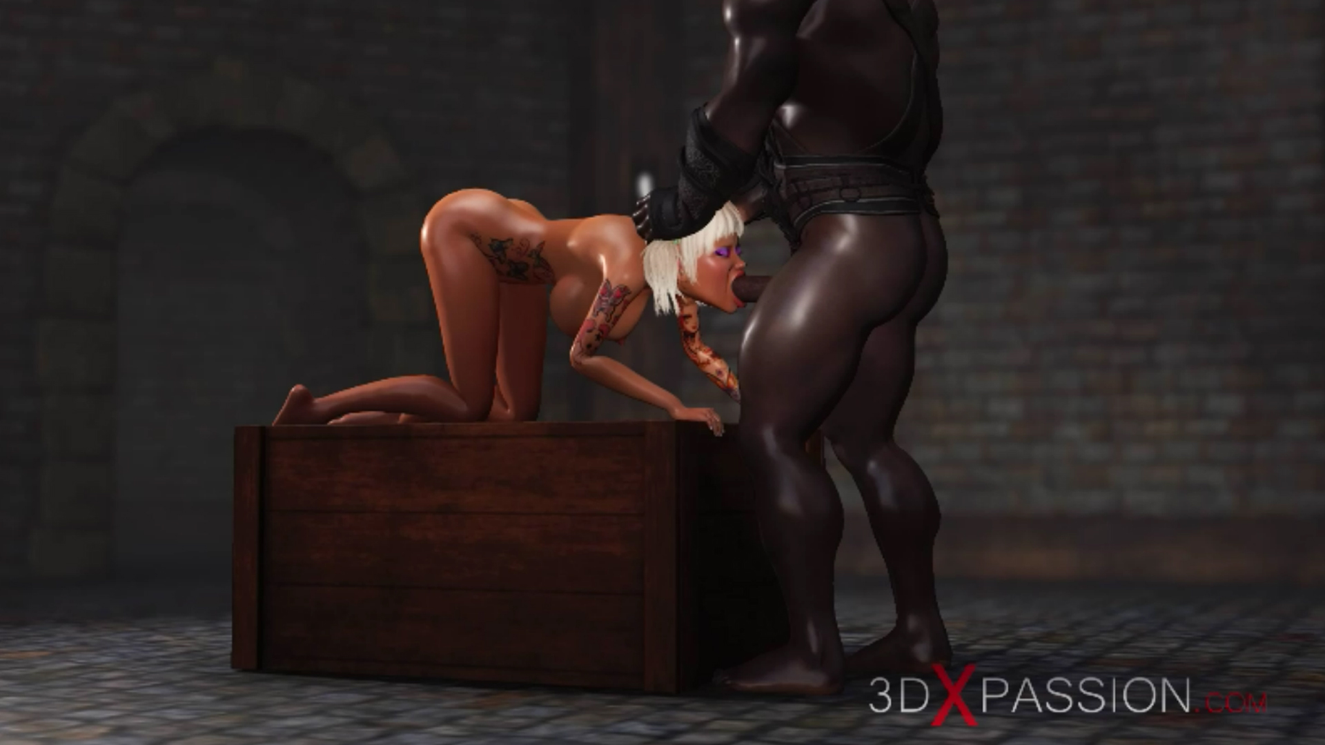 Sweet schoolgirl giving extreme blowjob black man dungeon
