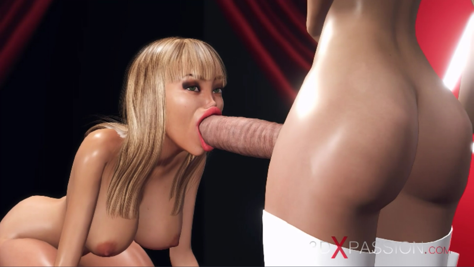 horny blonde giving blowjob 3d dickgirl shemale fashion model podium