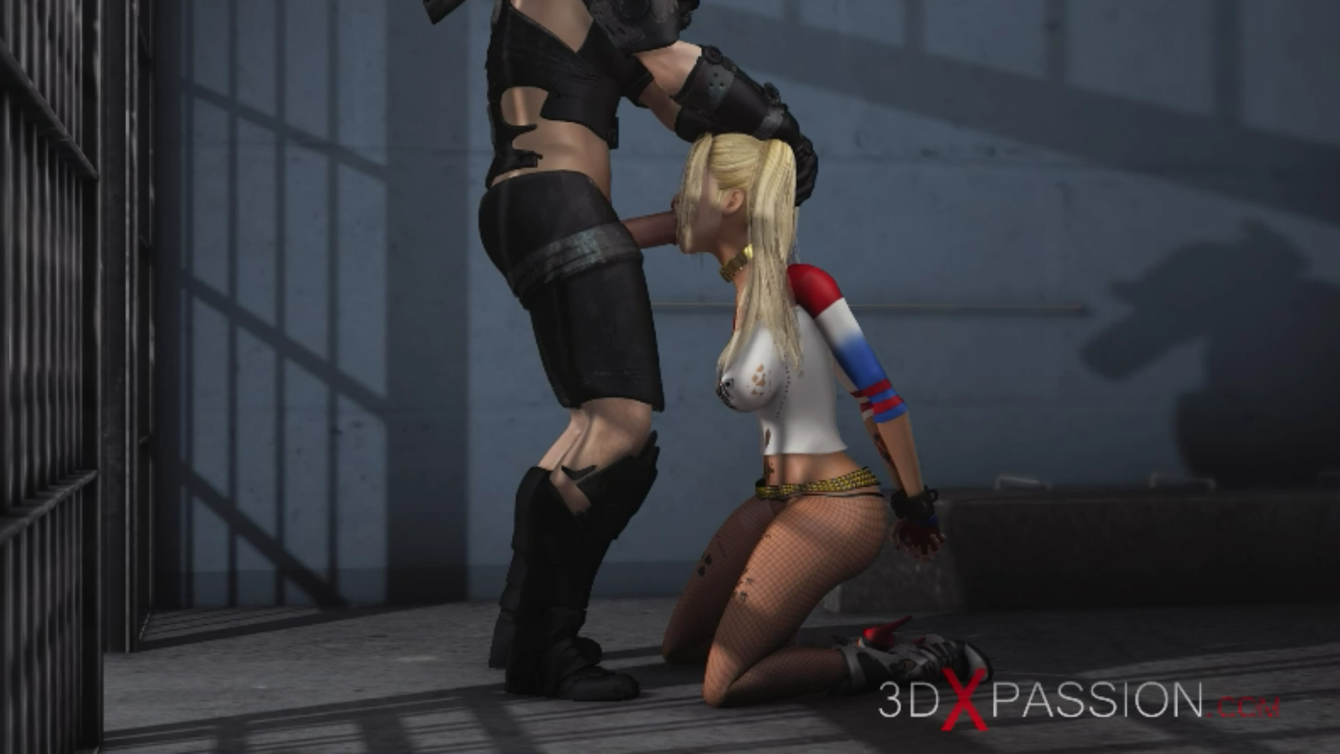 Batman fucks hard Harley Quinn in jail giving extreme blowjob