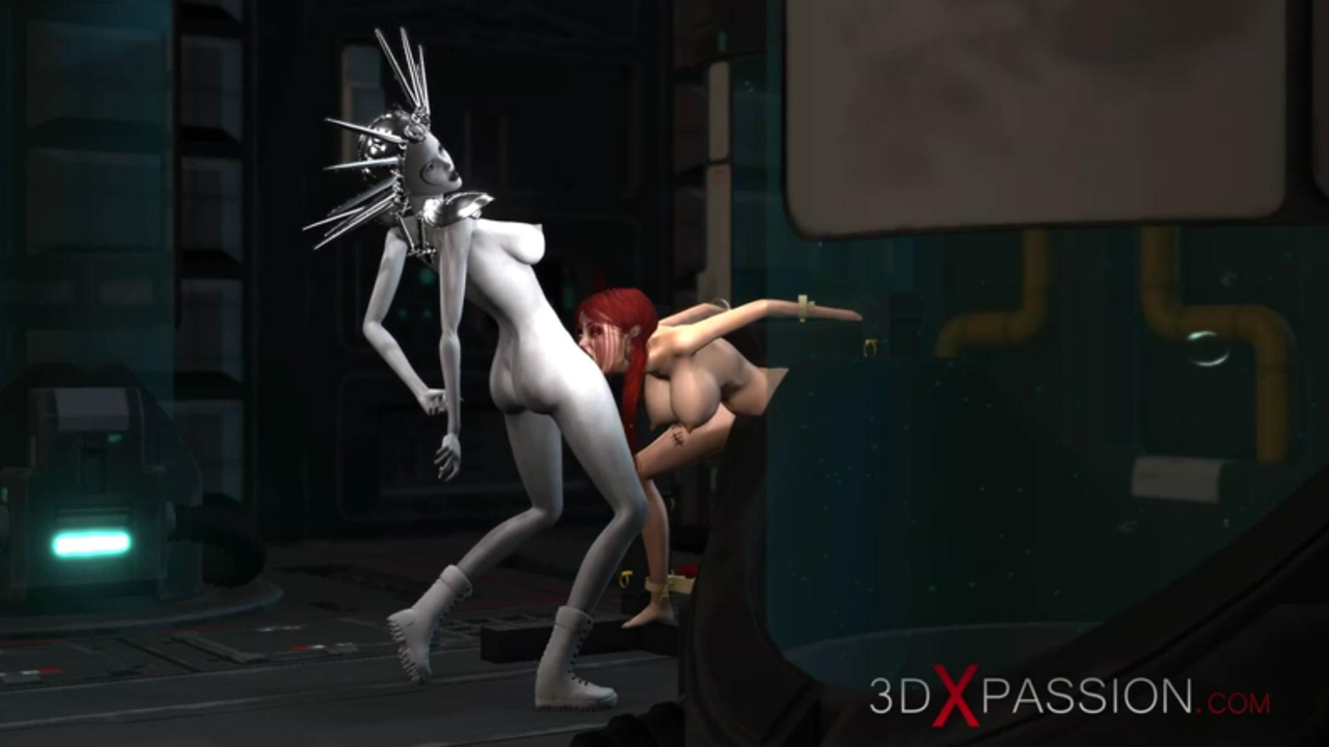 Sexy schoolgirl slave deepthroat sci-fi dickgirl lab