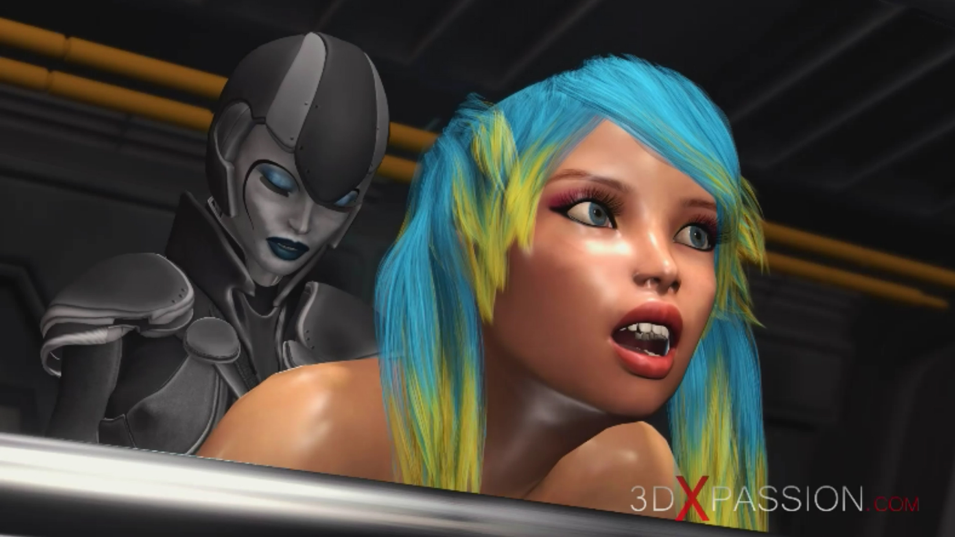 Sci-fi female android fucks girl  strapon spaceship