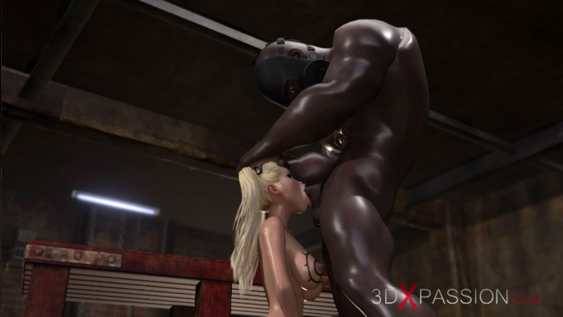 blonde whore gives blowjob black man basement