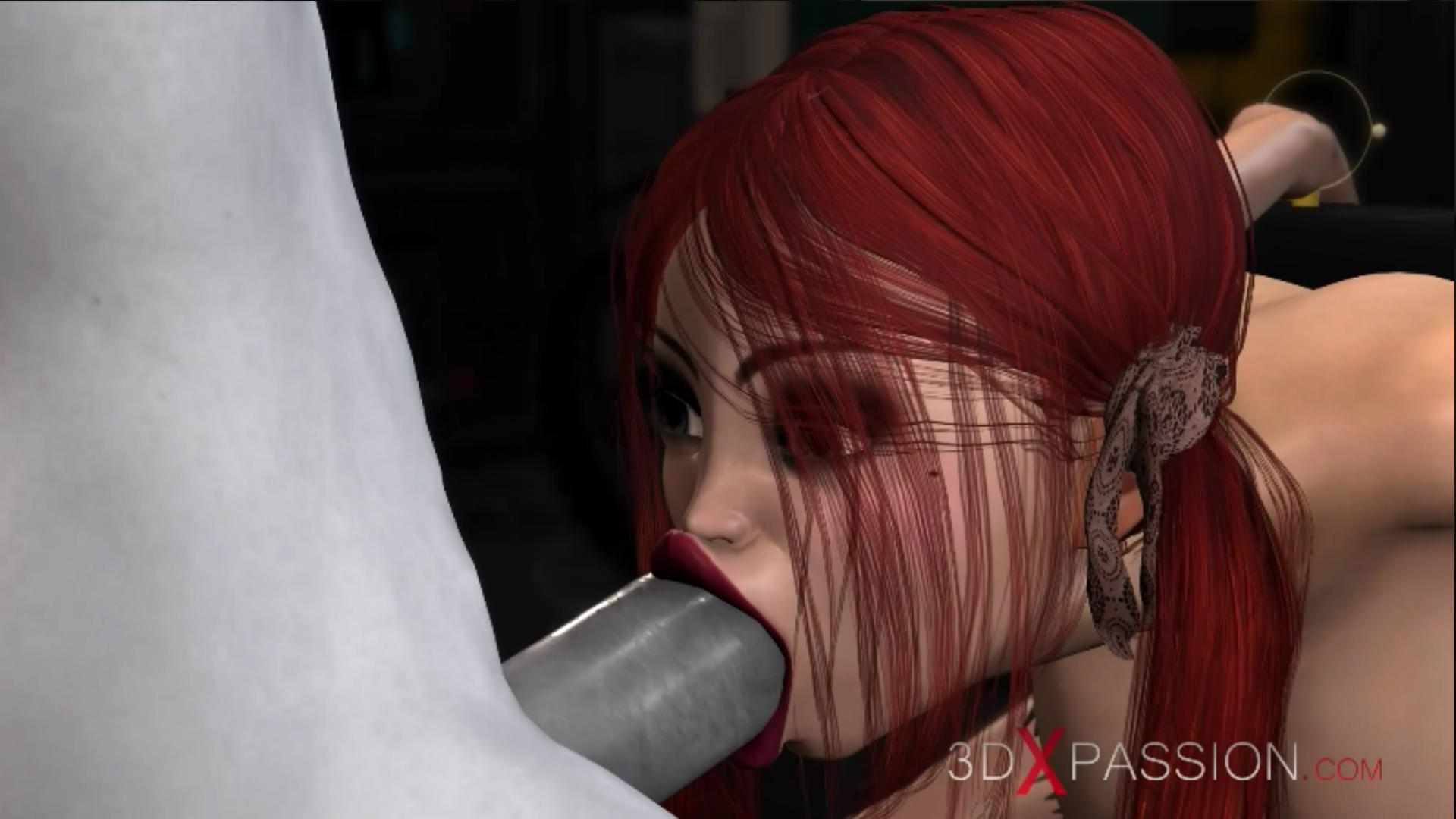 Sexy schoolgirl slave extreme deepthroat sci-fi dickgirl lab