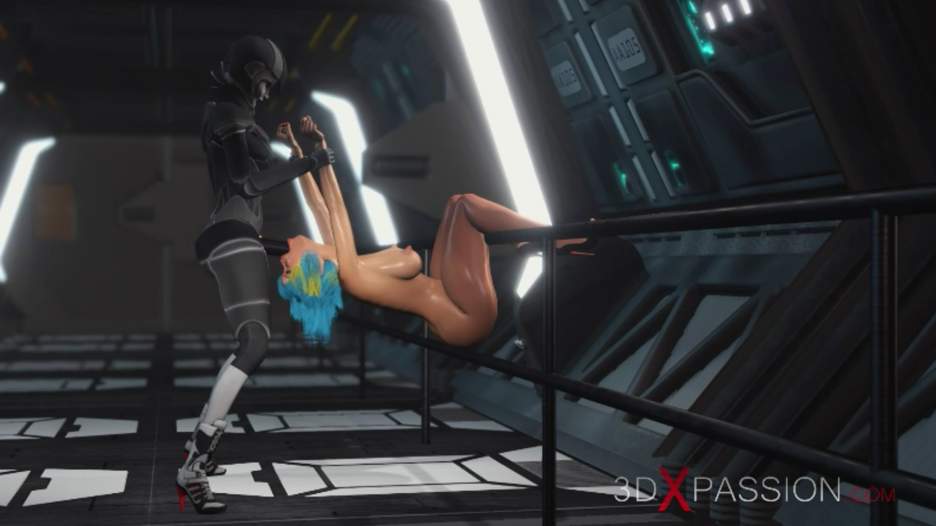Sci-fi female android extreme deepthroat girl  strapon spaceship