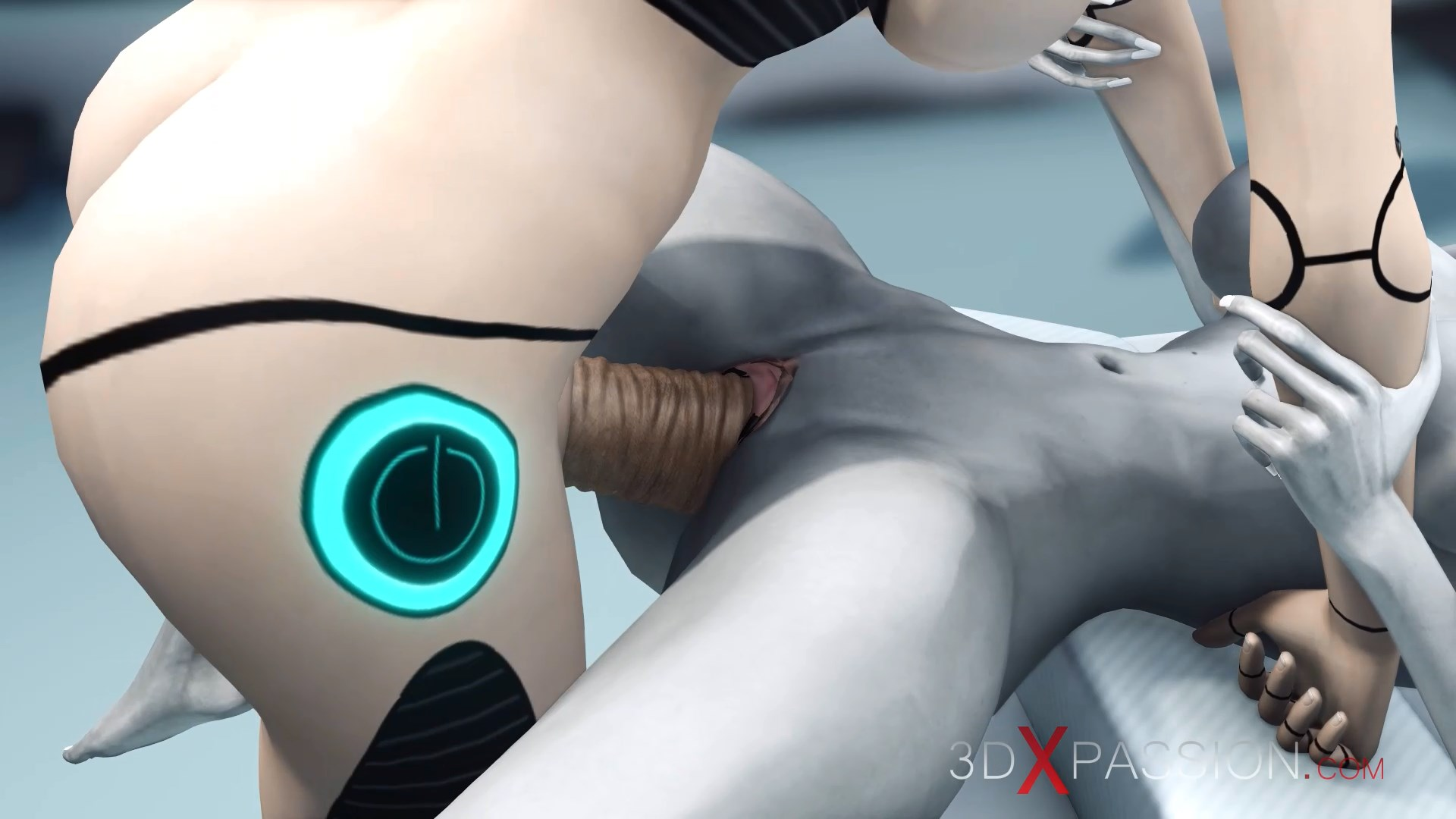Sci-fi female android missionary alien surgery room space station