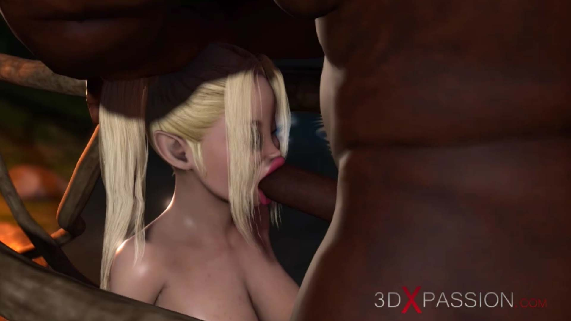 Young fairy giving blowjob minotaur in magic forest
