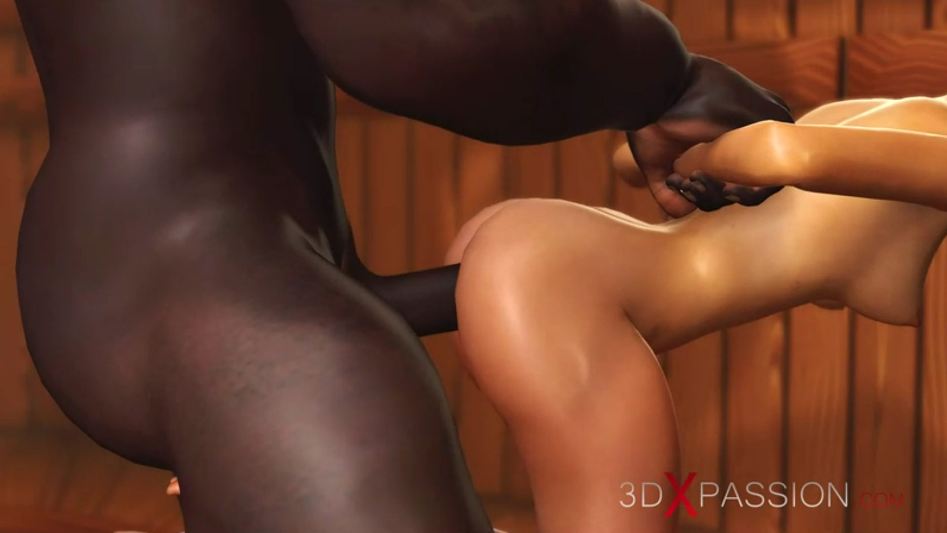Nerdy girl in glasses doggystyle fuck black basketball player in sauna