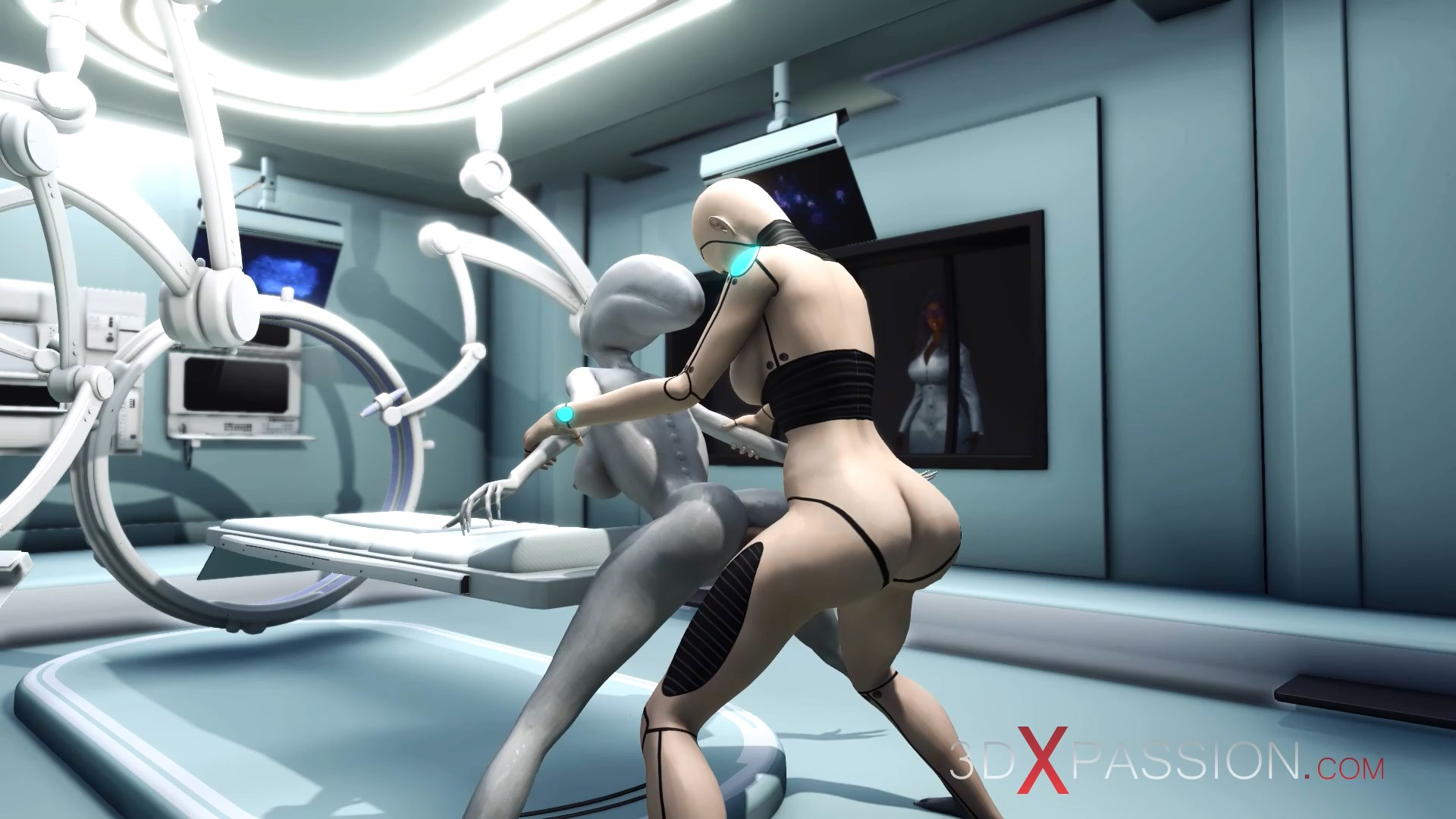 Sci-fi female android doggystyle alien surgery room space station