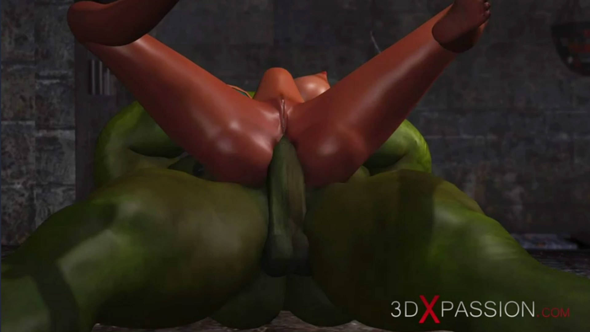 Young anal horny sex slave ass fuck big green monster in dungeon