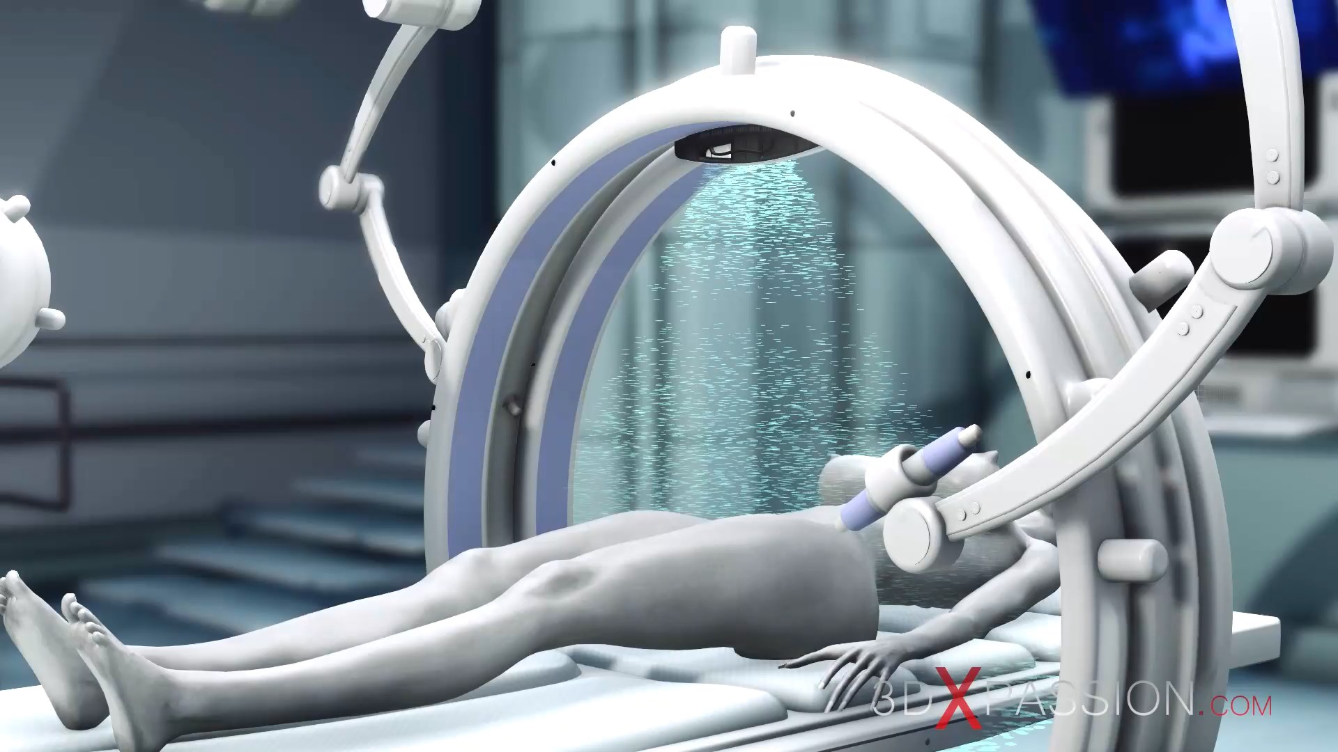 Sci-fi female android alien surgery room space station