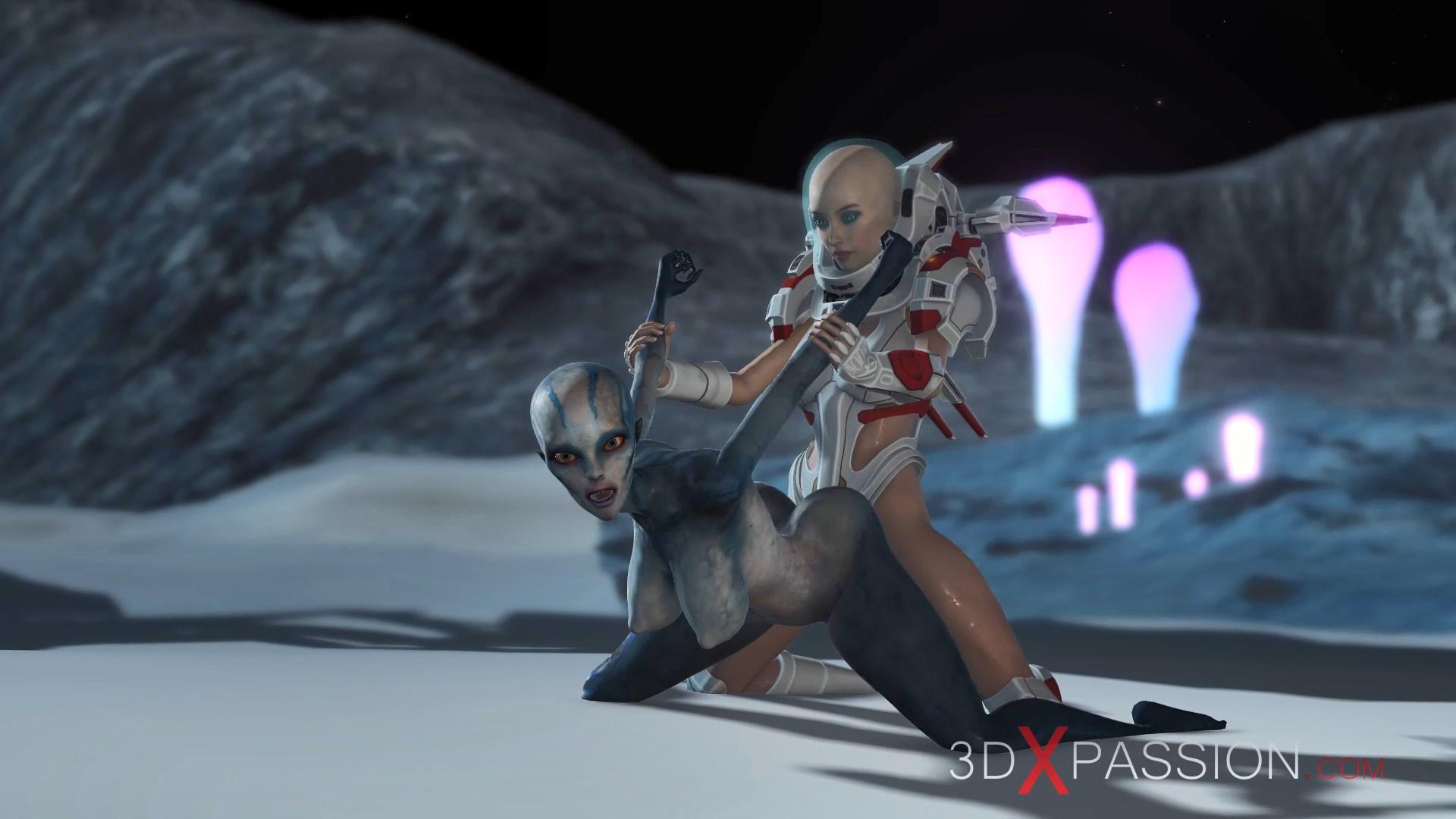 alien fuck doggystyle spacewoman spacesuit strapon exoplanet sci-fi