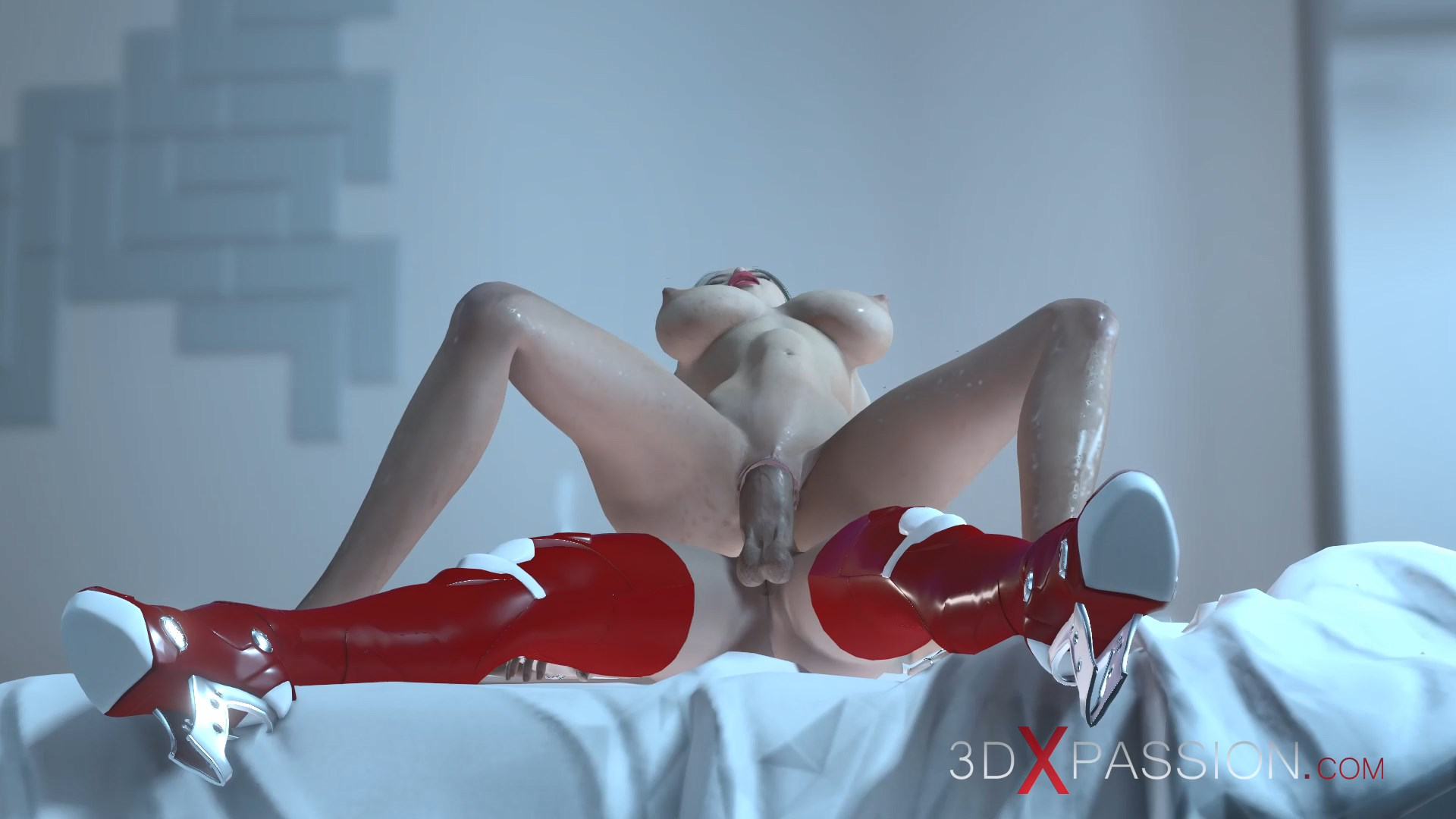 Sexy female sci-fi android reverse cowgirl hot horny girl space station