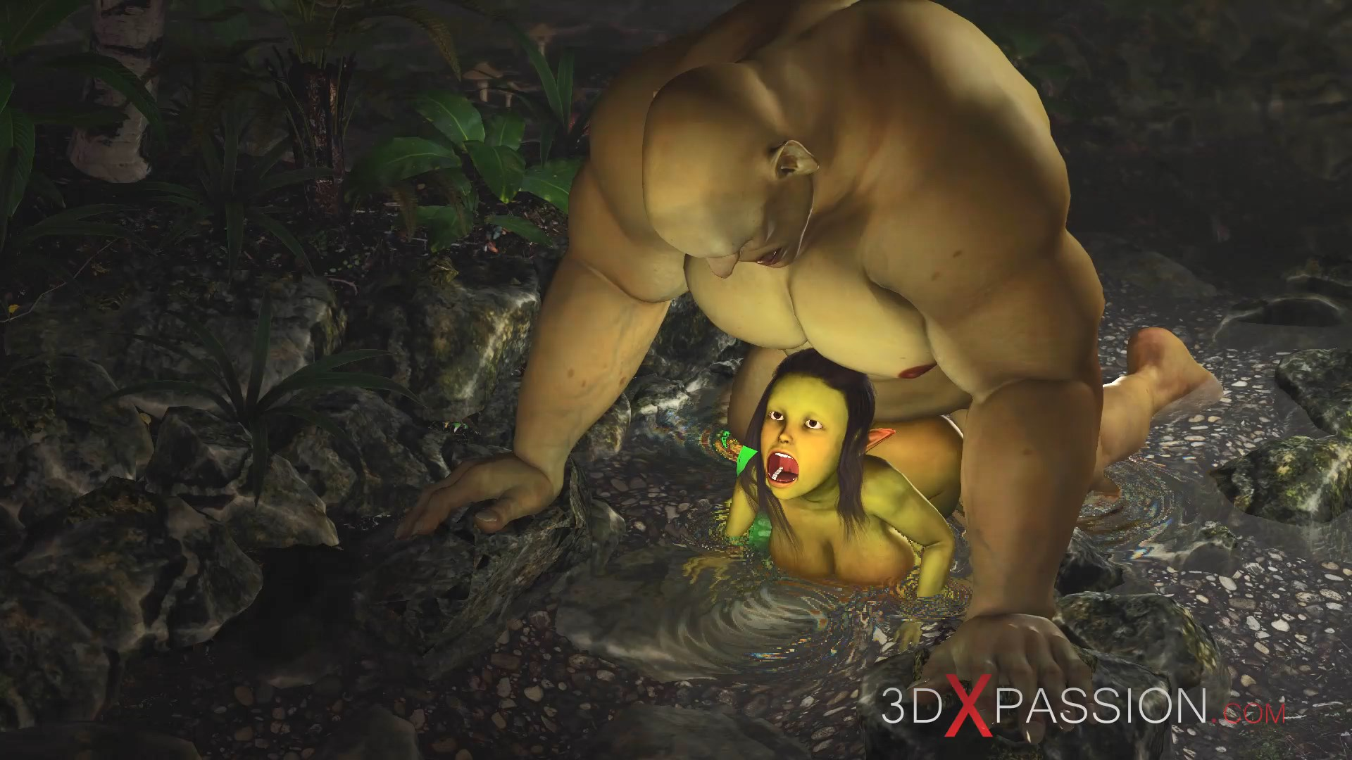 Ogre fuck doggystyle horny female goblin enchanted forest