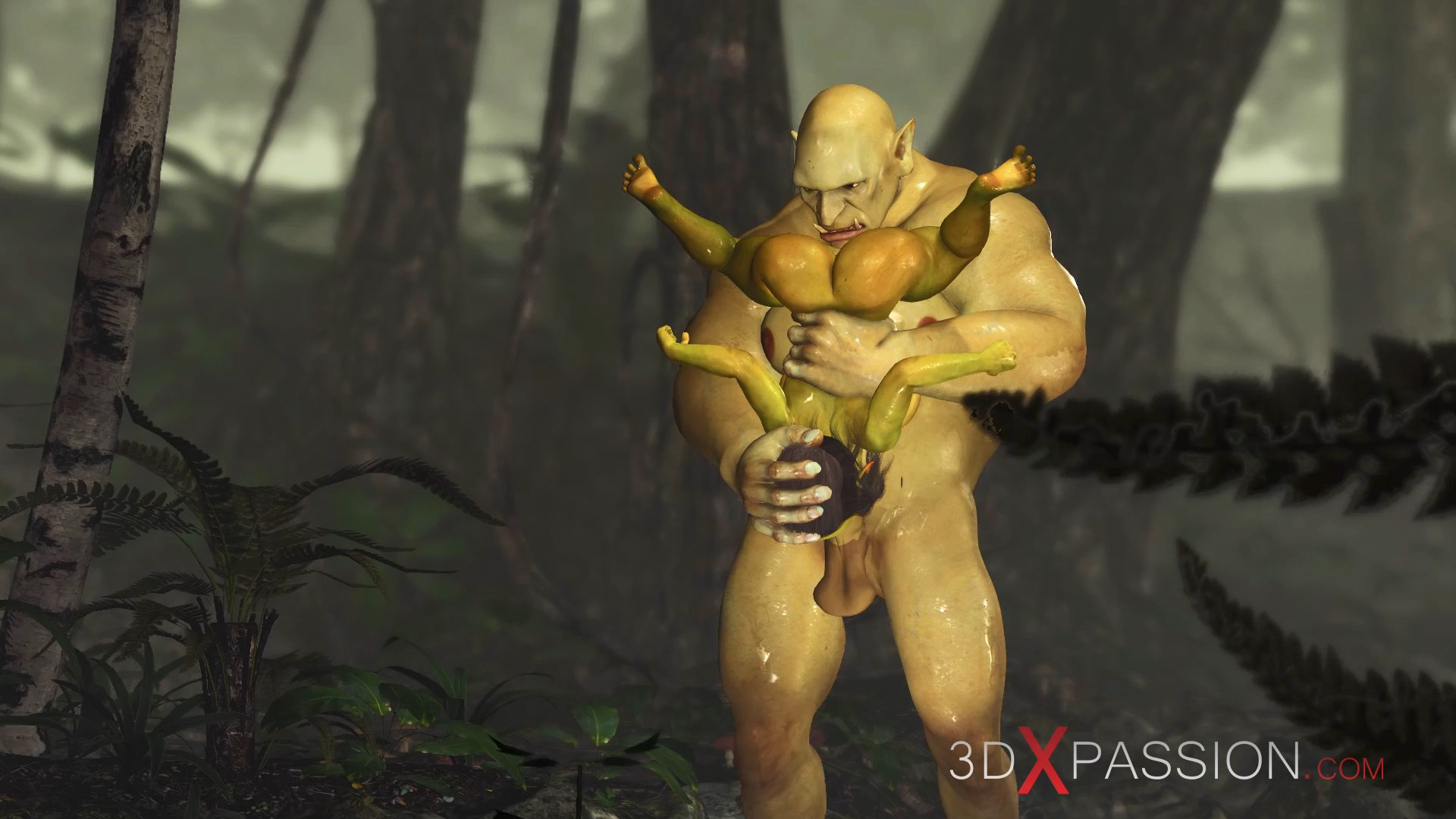 Ogre gagging 69 pose horny female goblin enchanted forest
