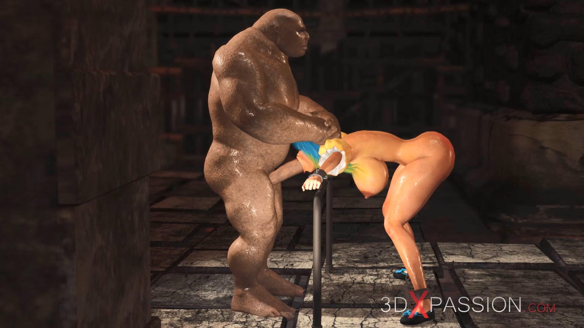 Beautiful female elf extreme gagging big ogre in dungeon