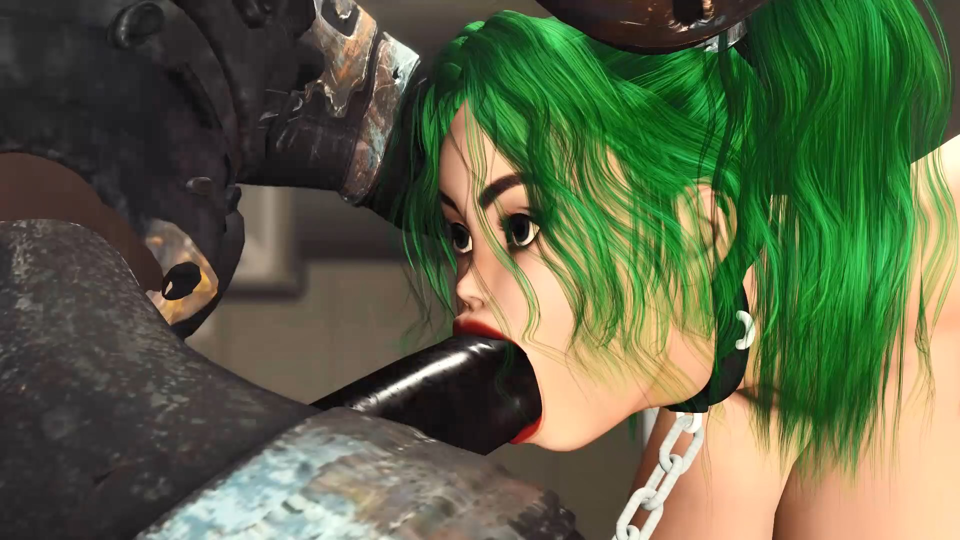 Sci-fi soldier extreme deepthroat hot sexy woman huge boobs in lab