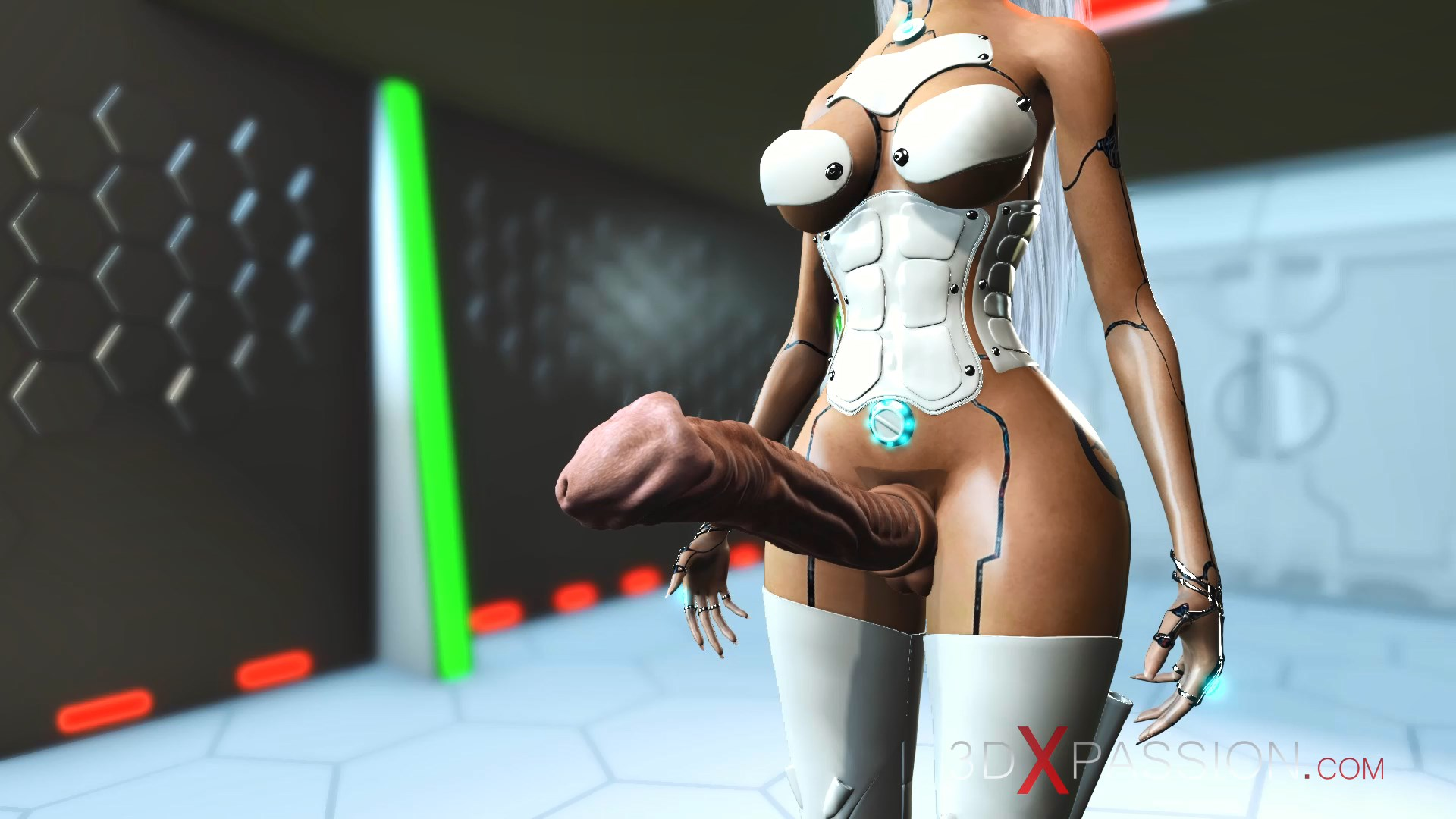 hot 3d sci-fi android dickgirl space station