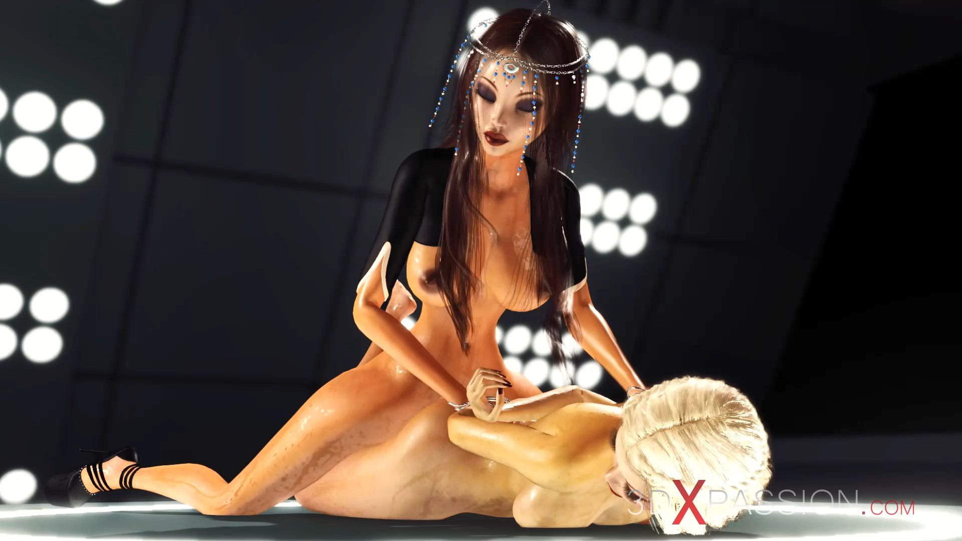 Super sexy 3d dickgirl fucjing horny blonde in space station